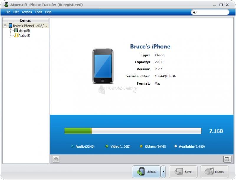 Pantallazo Aimersoft iPhone Transfer