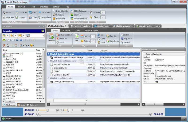 Pantallazo Sprintbit Playlist Manager