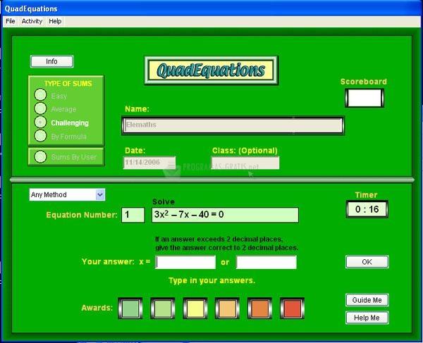 Pantallazo Quad Equations