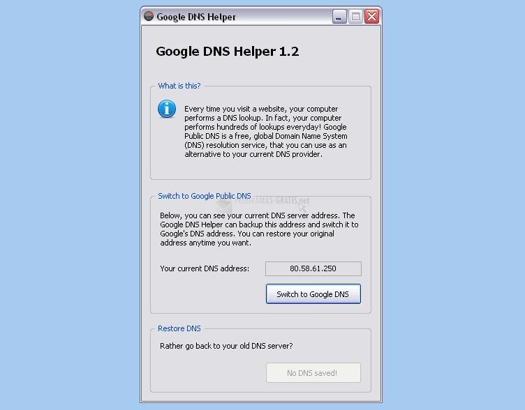 Pantallazo Google DNS Helper