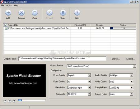 Pantallazo Sparkle Flash Encoder