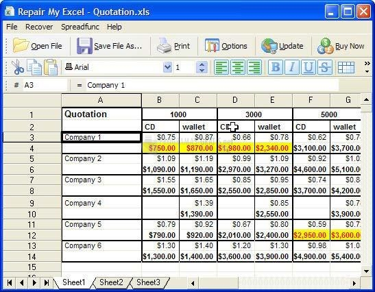 Pantallazo Repair My Excel
