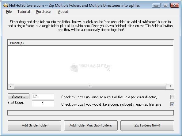 Pantallazo Zip Multiple Folders