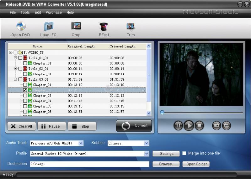 Pantallazo Nidesoft DVD to WMV Converter