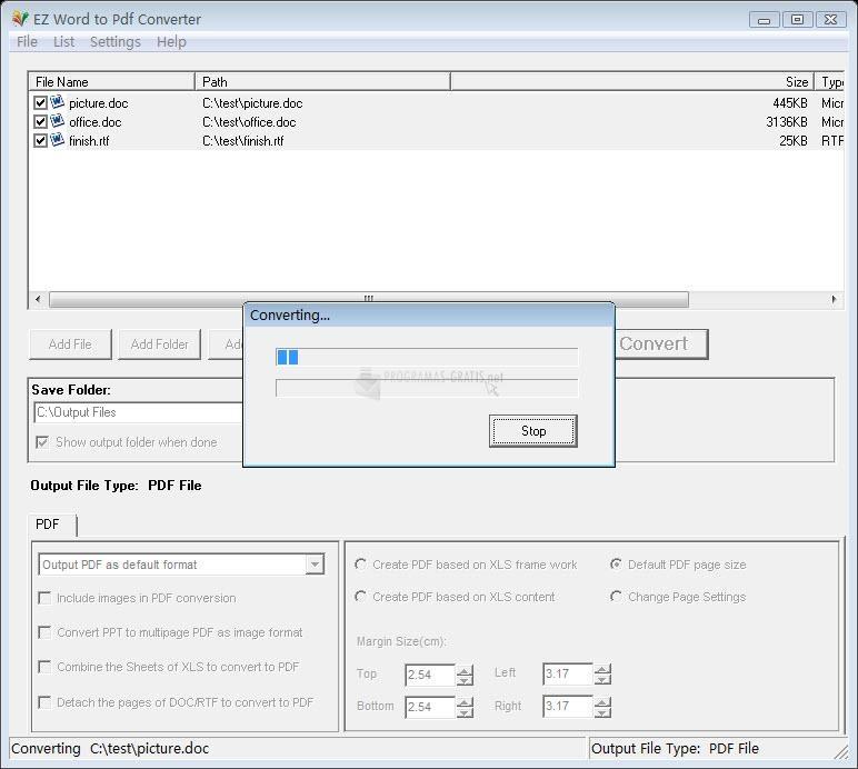 Pantallazo EZ Word to PDF Converter