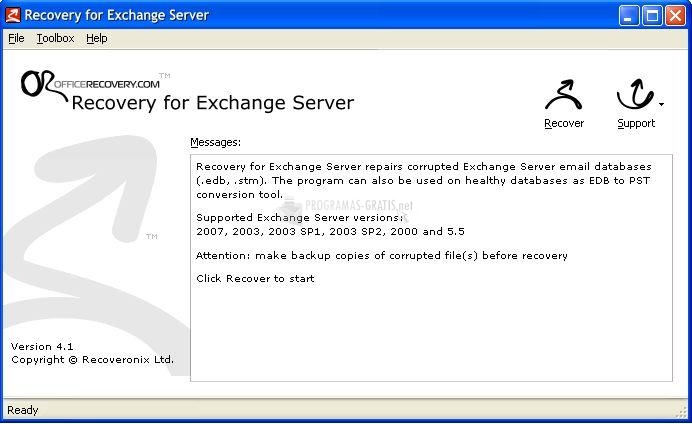 Pantallazo Recovery for Exchange Server