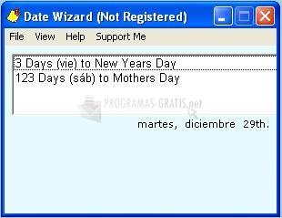 Pantallazo Date Wizard