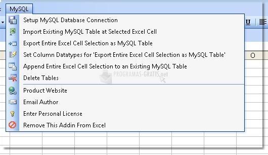 Pantallazo Excel MySQL Import, Export & Convert