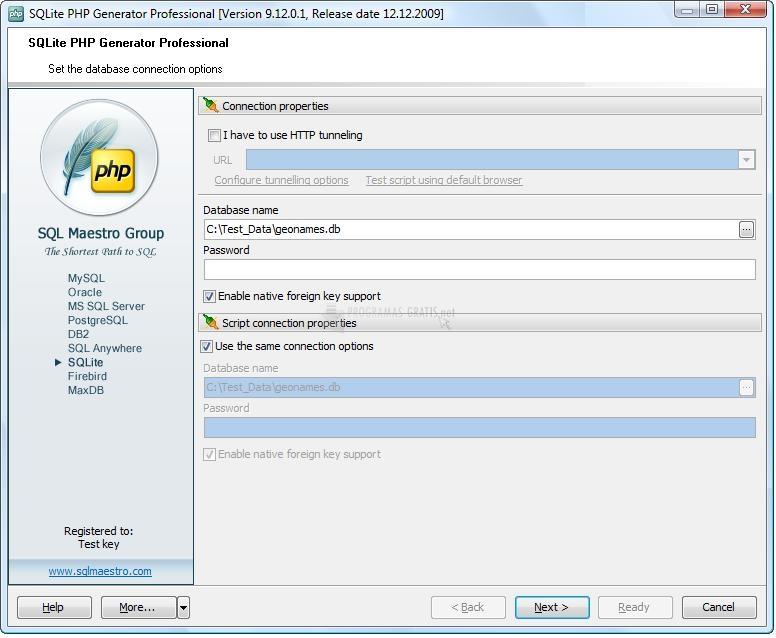 Pantallazo SQLite PHP Generator Pro