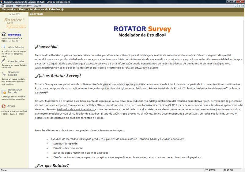 Pantallazo Rotator Survey