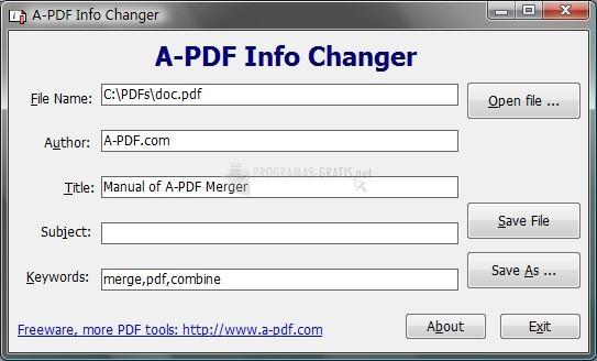 Pantallazo A-PDF Info Changer