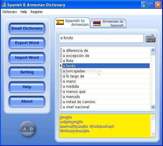 Pantallazo Spanish & Armenian Dictionary