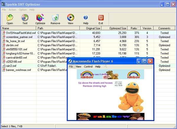 Pantallazo Sparkle SWF Optimizer