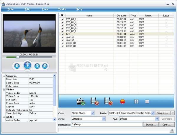 Pantallazo Joboshare 3GP Video Converter