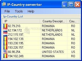 Pantallazo IP Country Converter