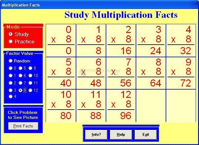 Pantallazo Multiplication Facts