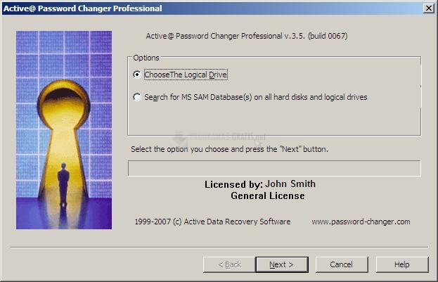 Pantallazo Active Password Changer
