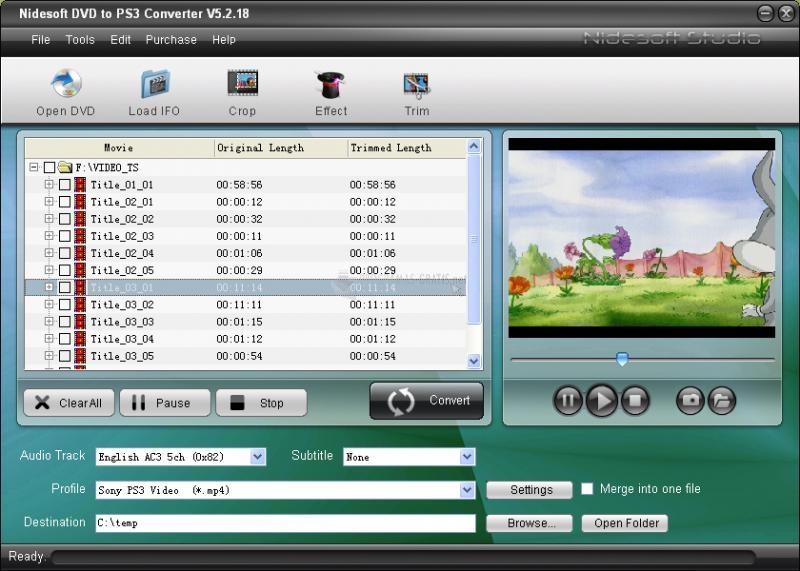Pantallazo DVD to PS3 Converter