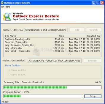 Pantallazo Outlook Express Restore