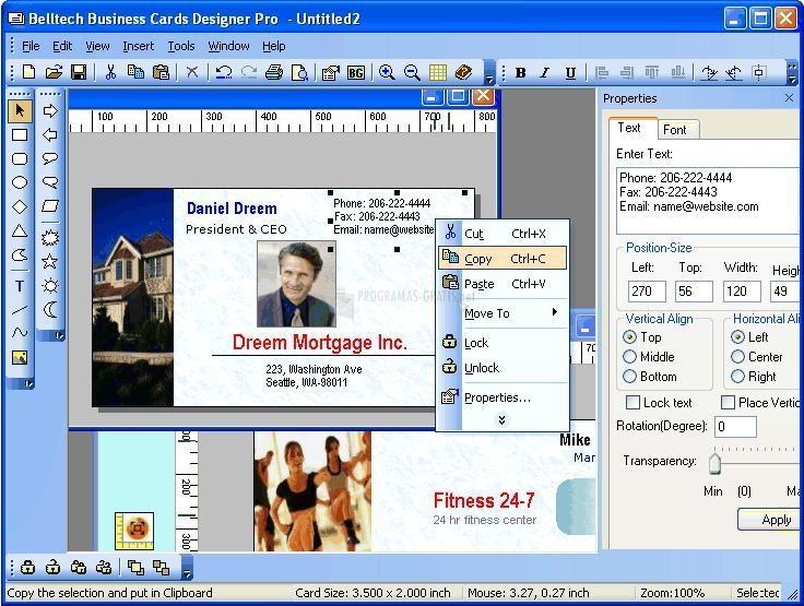 Pantallazo Business Card Designer Pro