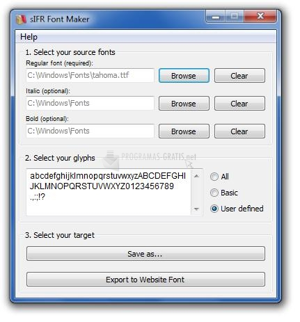 Pantallazo sIFR Font Maker