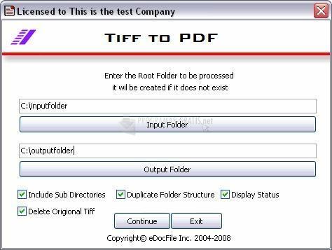 Pantallazo eDocFile Tiff to PDF