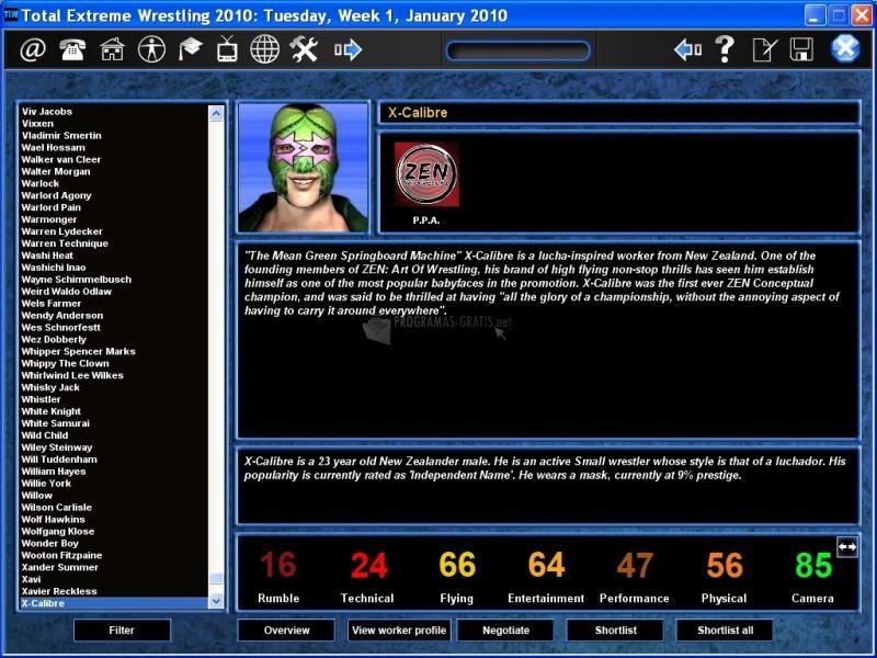 Pantallazo Total Extreme Wrestling 2010