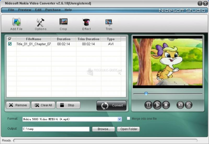 Pantallazo Nidesoft Nokia Video Converter