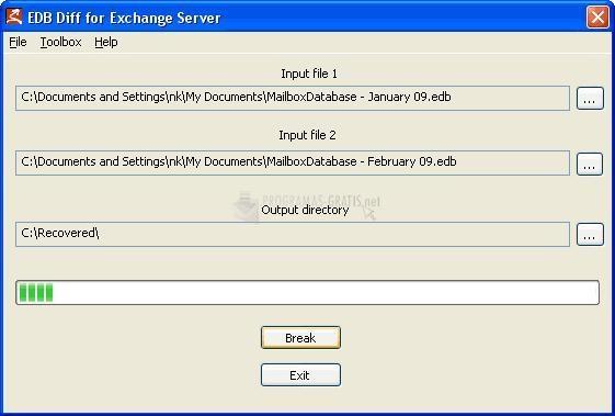 Pantallazo EDB Diff for Exchange Server