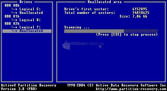 Pantallazo Active@ Partition Recovery DOS
