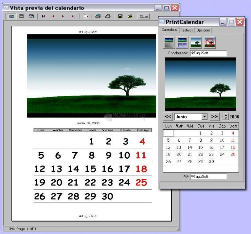 Pantallazo Print Calendar
