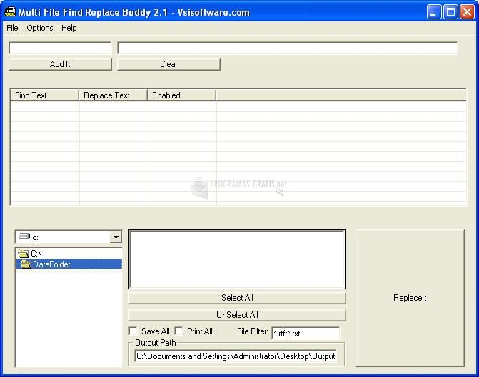 Pantallazo Multi File Find Replace Buddy