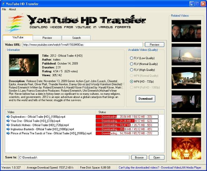 Pantallazo YouTube HD Transfer