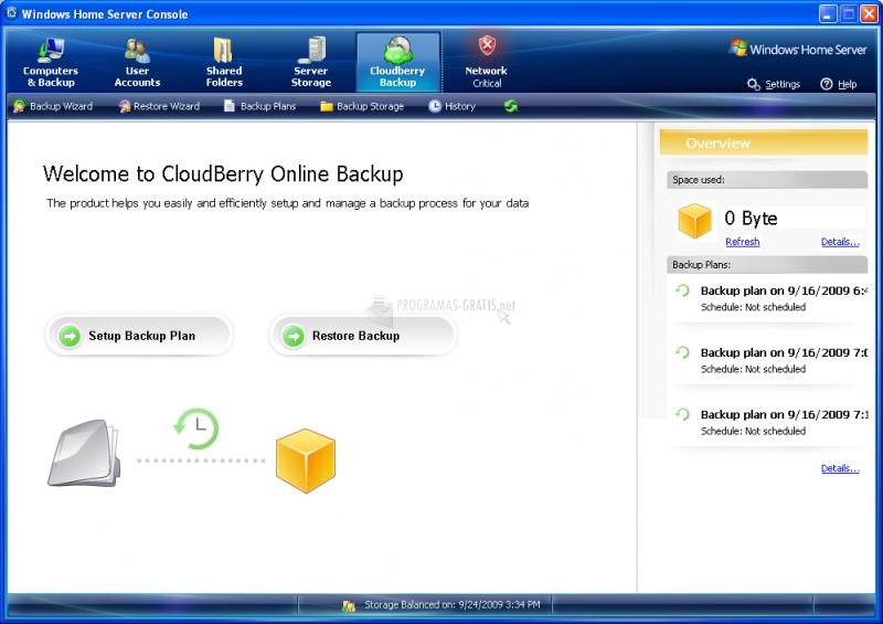 Pantallazo CloudBerry Backup