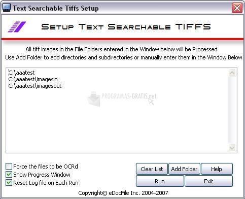 Pantallazo Text Searchable Tiffs