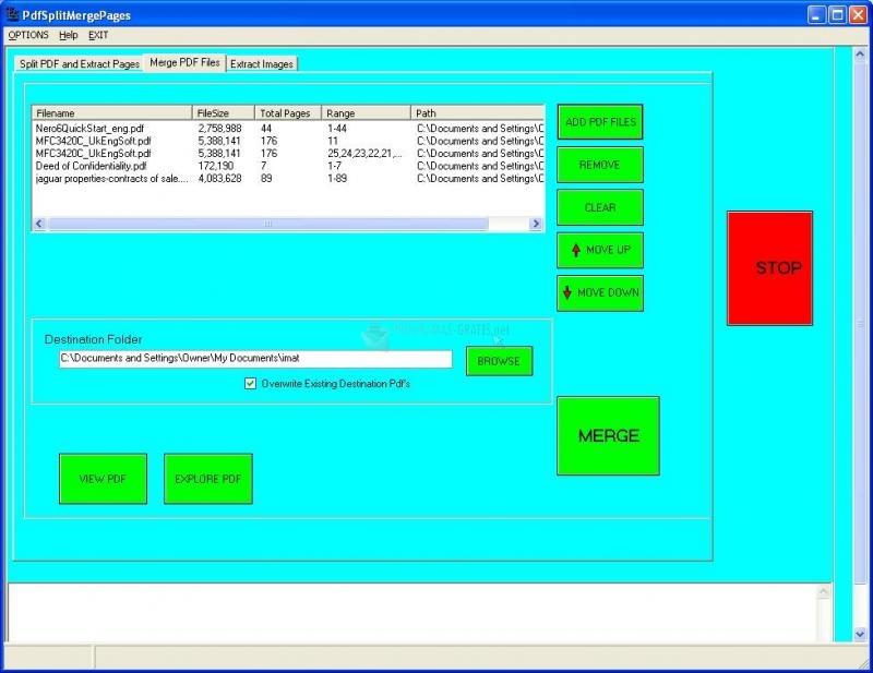 Pantallazo PDF Split Merge Pages