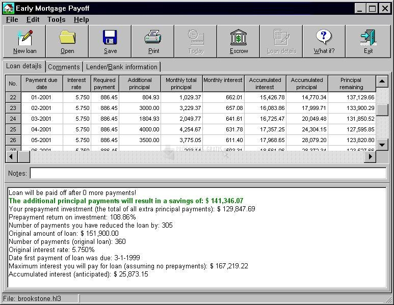 Pantallazo Early Mortgage Payoff
