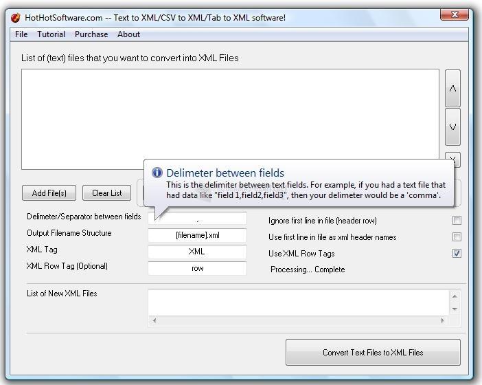 Pantallazo Text to XML