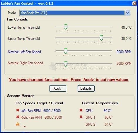 Pantallazo MacBook Pro Fan Control