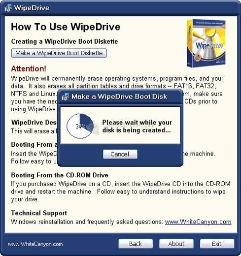Pantallazo Wipe Drive