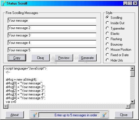 Pantallazo Status Scroll
