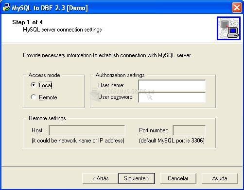 Pantallazo MySQL to DBF
