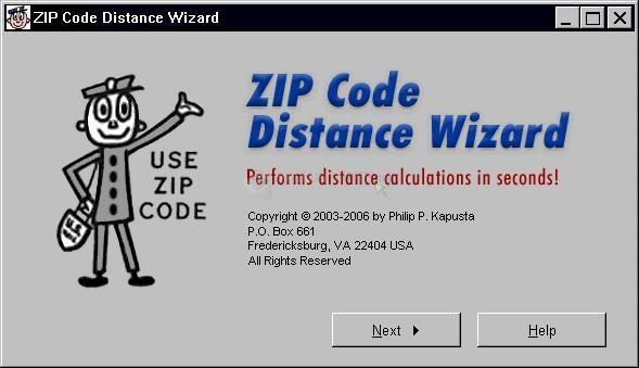 Pantallazo ZIP Code Distance Wizard