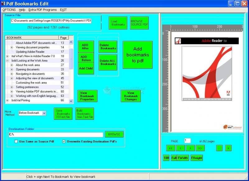 Pantallazo PDF Bookmarks Edit