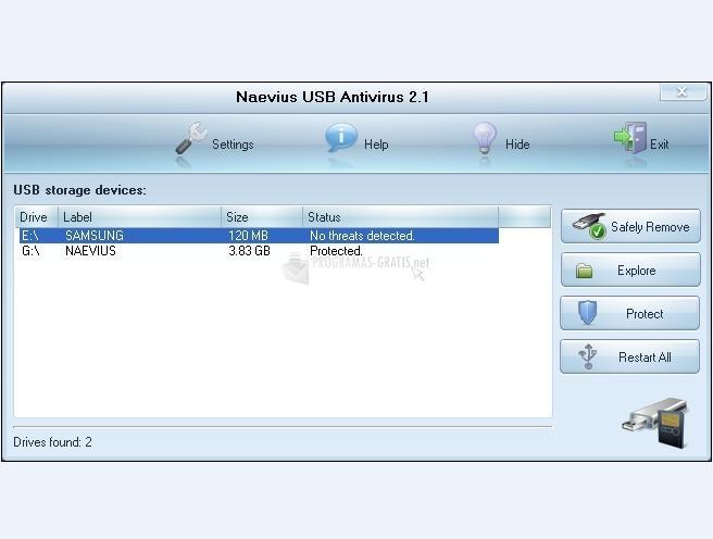 Pantallazo Naevius USB Antivirus