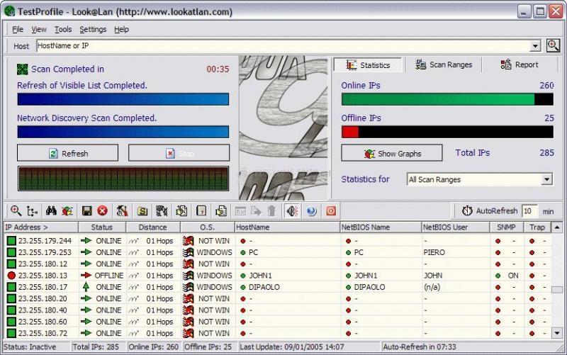 Pantallazo Look@LAN Network Monitor