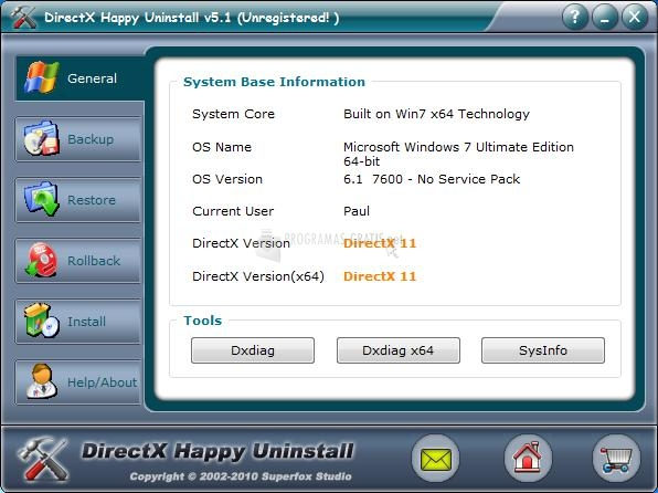 Pantallazo DirectX Happy Uninstall 64Bits