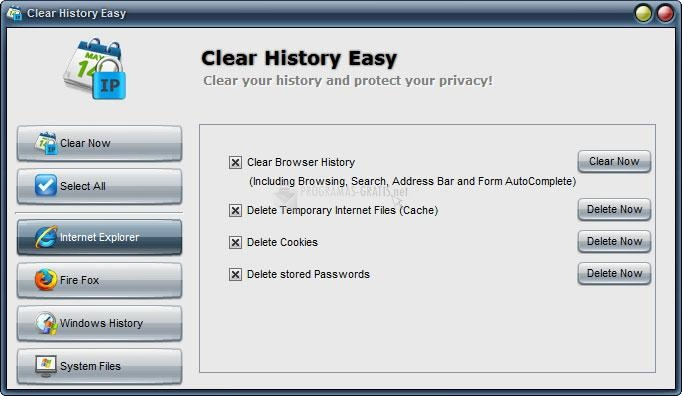 Pantallazo Clear History Easy
