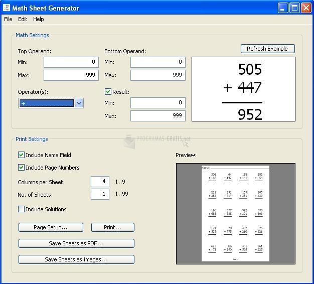 Pantallazo Math Sheet Generator