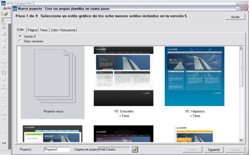 Pantallazo Web Creator Pro